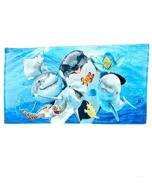 Animal Selfie Beach Towels Cotton Animal Lovers Fiber Reactive Machine Care New