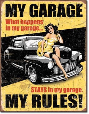 "Legends - My Garage Tin Sign 16"" X 12.5"" , 12x16"