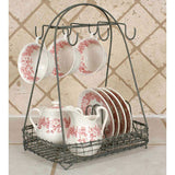 Wire Dish Caddy 11½''W x 8¾''D x 15''H complete with hooks to hold coffee mugs