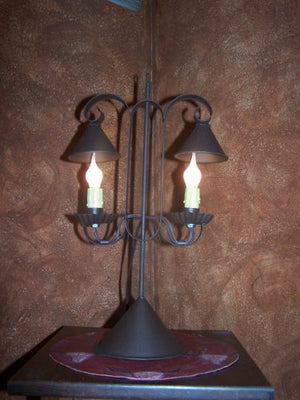 Reproduction Primitive Lamp ~ Double Lamp with Hanging Shades - Rustic Brown