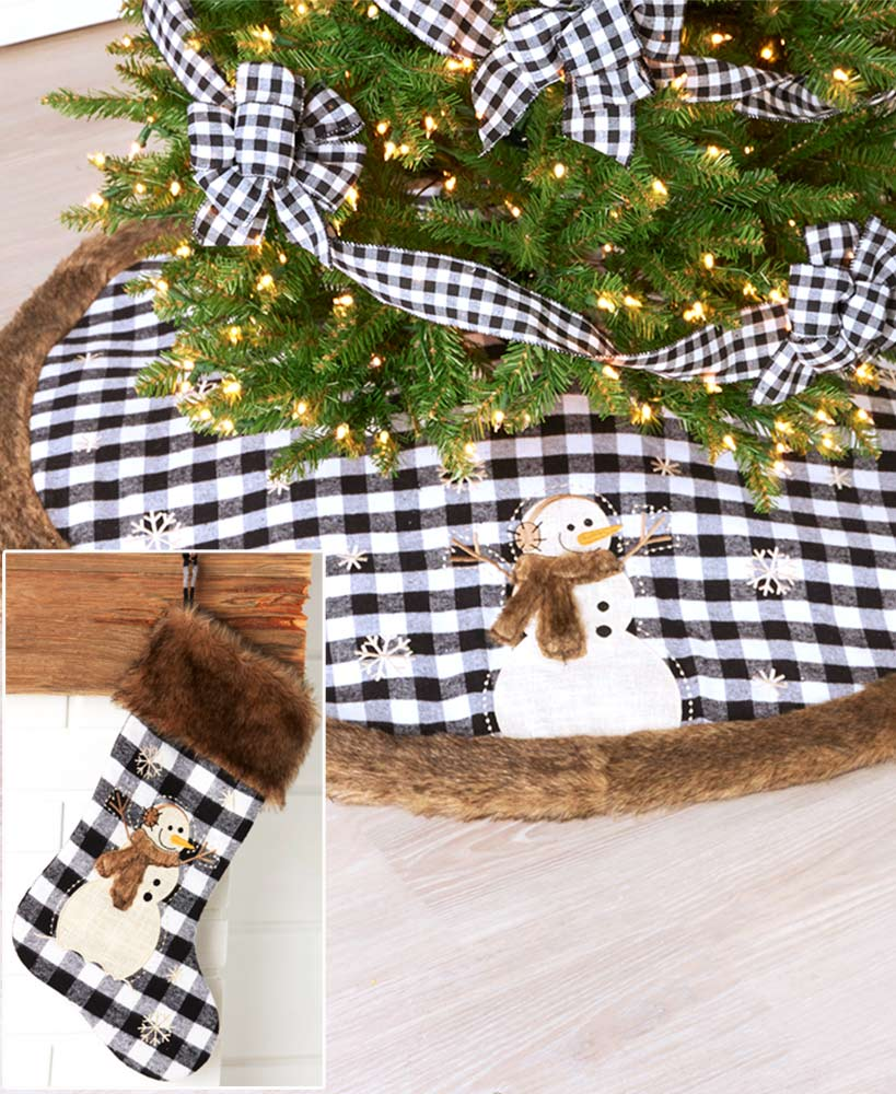 Faux Fur-Trimmed Tree Skirt or Stocking