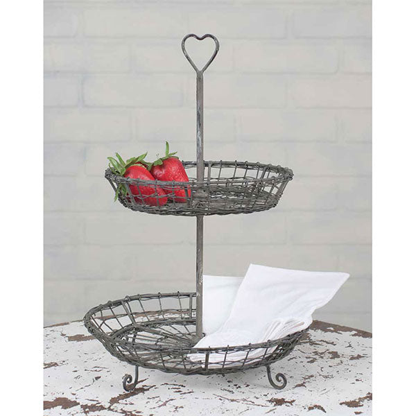 Wire Heart Two-Tier Serving Stand 8¼'' dia. x 12¼''H