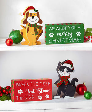 2-Pc. Holiday Pet Shelf Sitter and Sign Sets