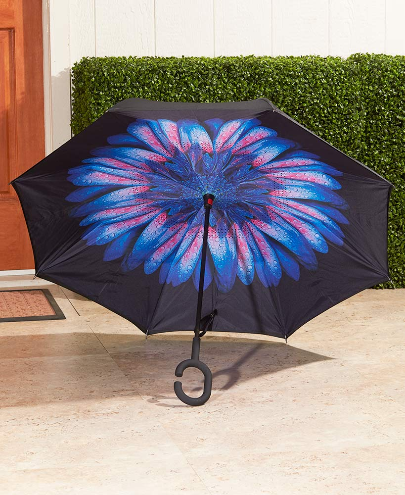Inverse Opening Flip-Resistant Umbrellas Choice of Sky, Black/Blue Daisy, Sunflower, or Black/White Polka Dot
