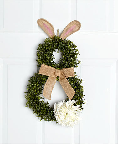 Cottontail Bunny Wreath Plastic, Rattan Burlap Covered Outdoors Hydrangea Flower