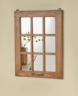 Distressed Wood Windowpane Mirrors