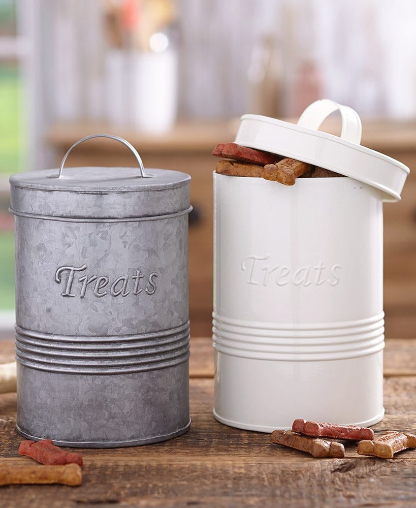 Retro Metal Pet Treat Canisters Choice of Galvanized or Ivory