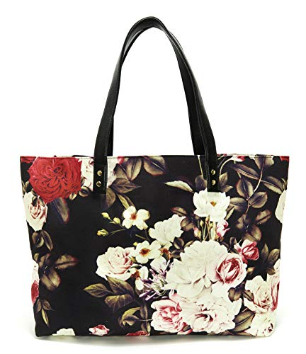 Lulu Dharma Printed Canvas Shoulder Tote Bag