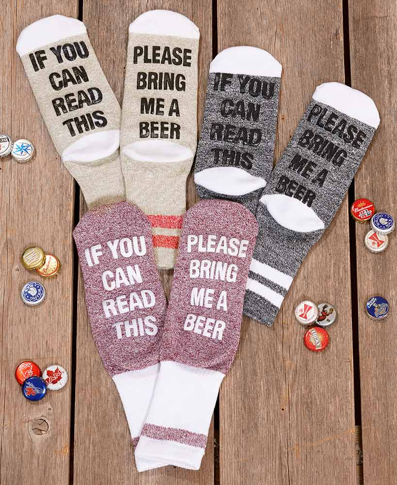 3-Pair Wine, Coffee or Beer Slipper Socks Polyester and Spandex Machine Care New