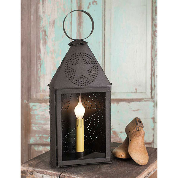 Small Half-Round Lantern with Punched Star 6''W x 5''D 14½''H