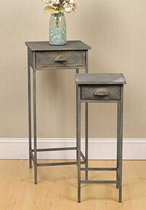 Industrial Inspired Metal Bedside Tables (Set of 2)
