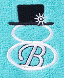 Sets of 2 Snowman Monogram Towels Choice of Monogram Letter