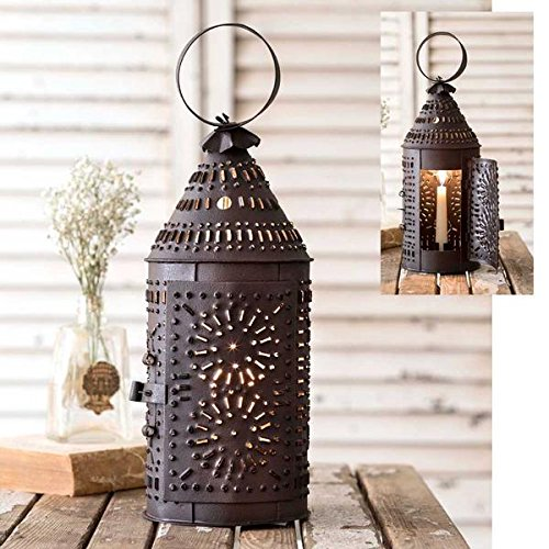 Rustic Brown Punched Tin Paul Revere Candle Lantern