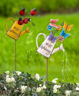 Solar Hello Spring Watering Can Stakes