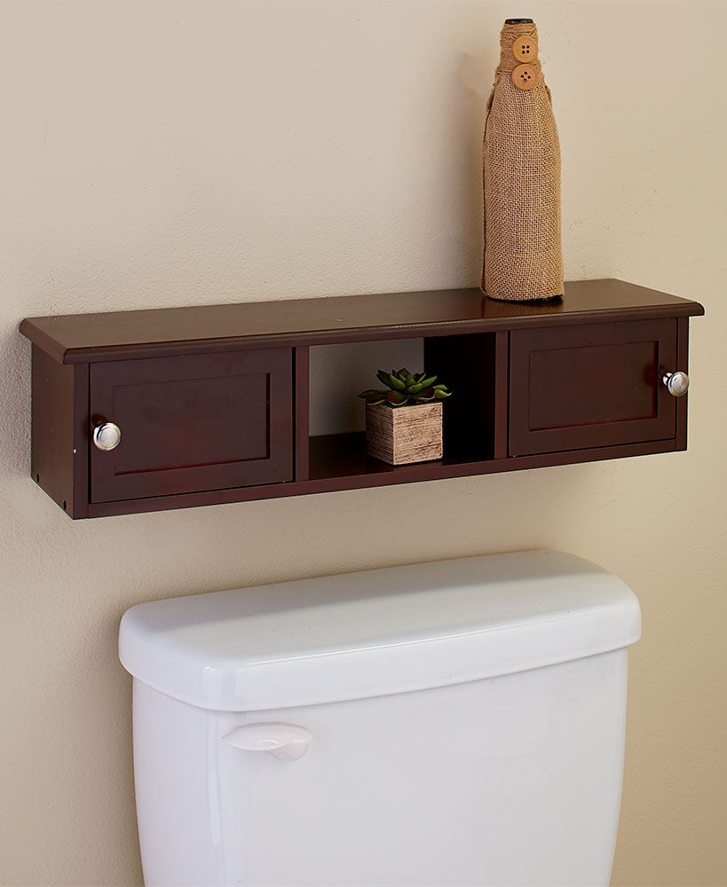 Wall-Mounted Over-the-Toilet Spacesaver Shelves Choice of White or Dark Walnut