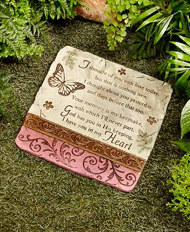 I Thought of You Stone Butterfly Garden Memorial Home Decor, Yard, Lawn Outdoor