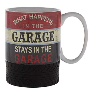What Happens In The Garage Stays In The Garage Ceramic Mug with Rubber Tire Base