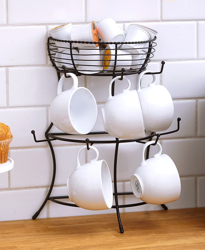 Wall Mug Rack with Pod Holder