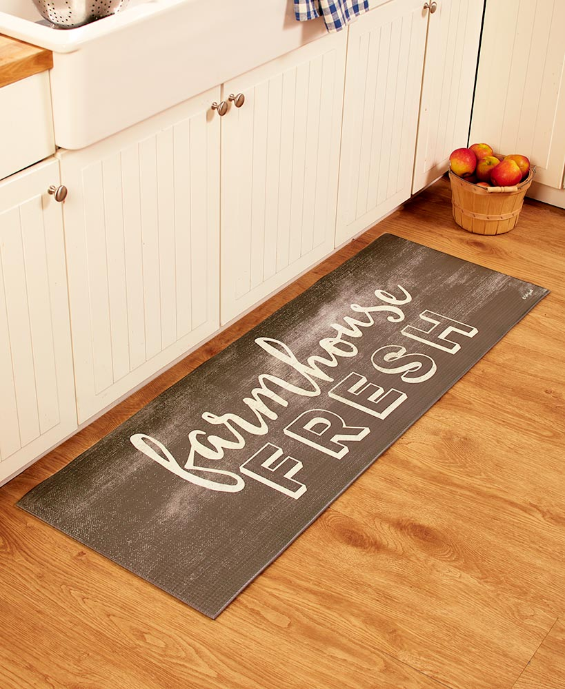 "55"" Themed Kitchen Runners Farmhouse Fresh or Eat Laugh Live"