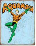 Tin Sign Aquaman Retro 12.5x16 in