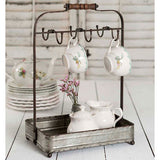 Tabletop Mug Rack with Tray with 6 hooks and wooden handle 12''W x 8''D x 17''H