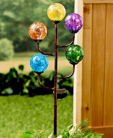 Colorful 5-Light LED Solar Stake Glass Yard Garden Patio Lighting Home Decor New
