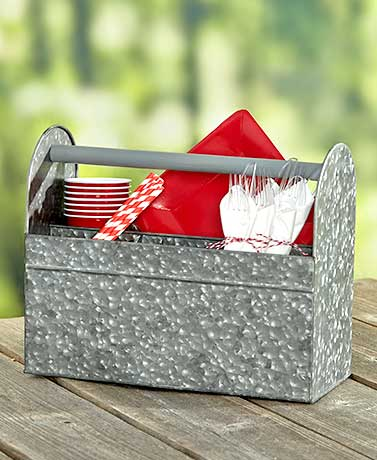Galvanized Serving Trays Metal Wood Handle Carrying Storage Craft Supplies
