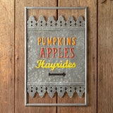 Fall Fun Metal Wall Sign Pumpkins Apples Hayrides 14''W x 22''