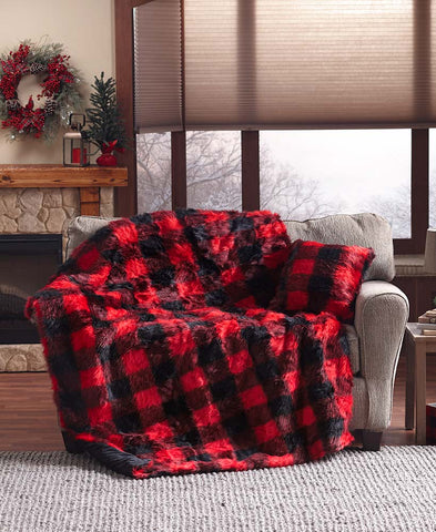 Faux Fur Buffalo Plaid Throws or Pillows