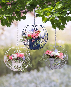 Scrolled Metal Hanging Heart Planters Choice of Blue, Gray, or White