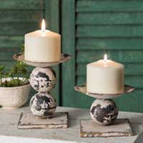 "Set of Two Spheres Pillar Candle Holders Large 5"" Small 3 1/4"""