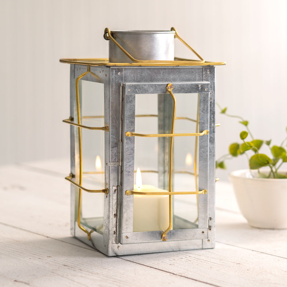 Caged Galvanized and Brass Trim Lantern 6''W x 6''D x 10''
