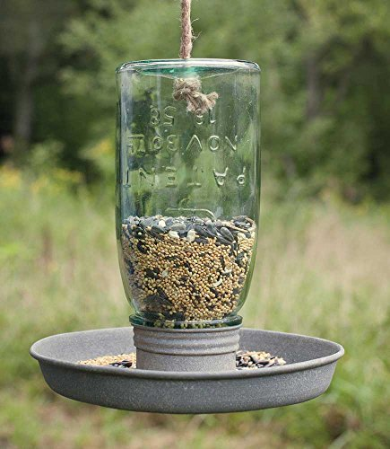 Hanging Mason Jar Bird Feeder 8'' dia. x 8½''H