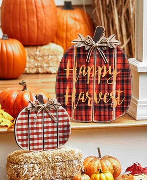 Sets of 2 Plaid Porch Pumpkins