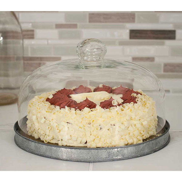 Dessert Cloche with Base 10'' dia. x 6''H Includes a ¾'' tall base with beautiful glass knob cover