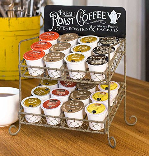 New Vintage Single Serve Coffee K-cups Pod Tea Holder Two Tier Storage Organizer Countertop Stand Rack