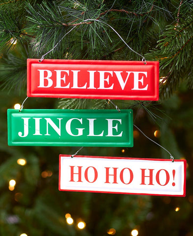 Set of 3 Metal Sign Ornaments