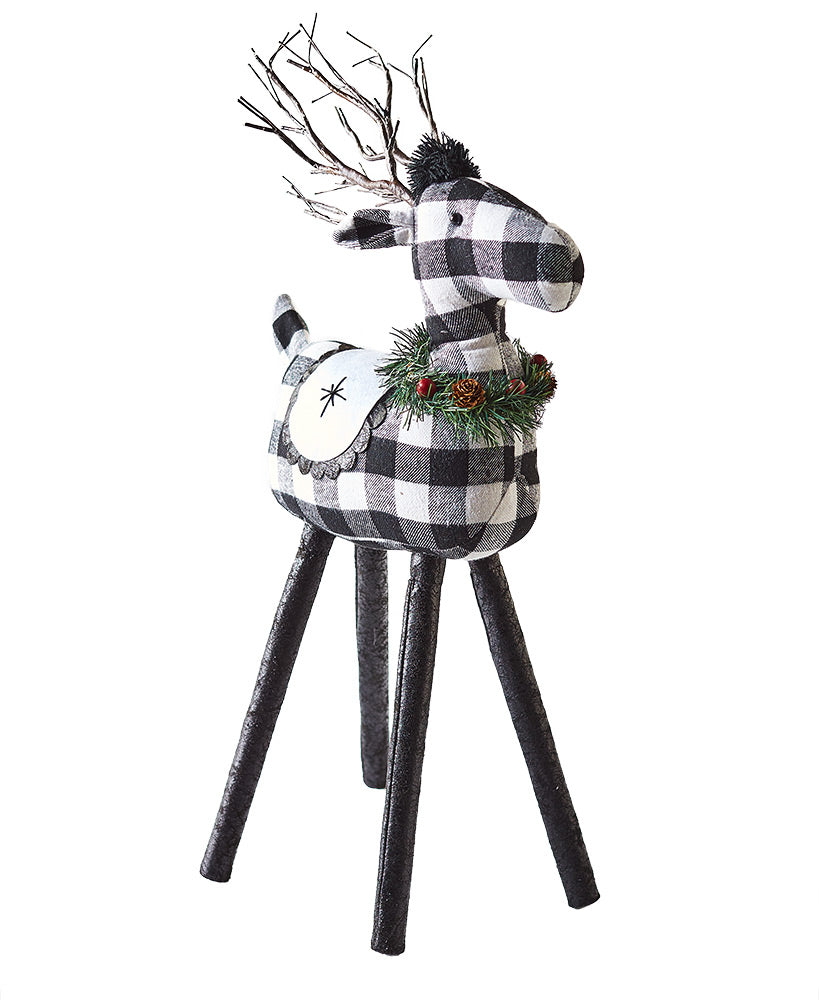 "Lighted Reindeer - Rustic Plaid - Removable Legs - 31-5/8""H"