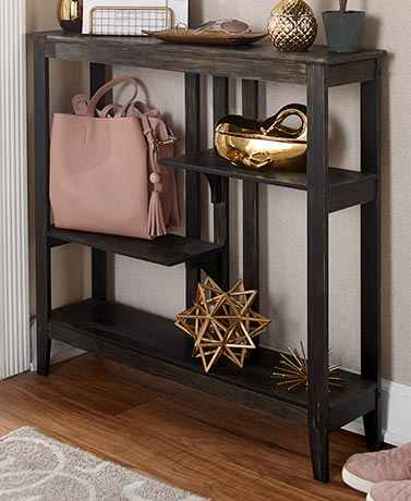 Brushed Metallic Console Table Display Slim Design Saves Floor Space