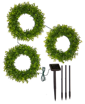 2-In-1 Solar Lighted Wreath Trios
