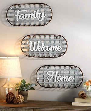 Metal Basket Sentiment Wall Decor