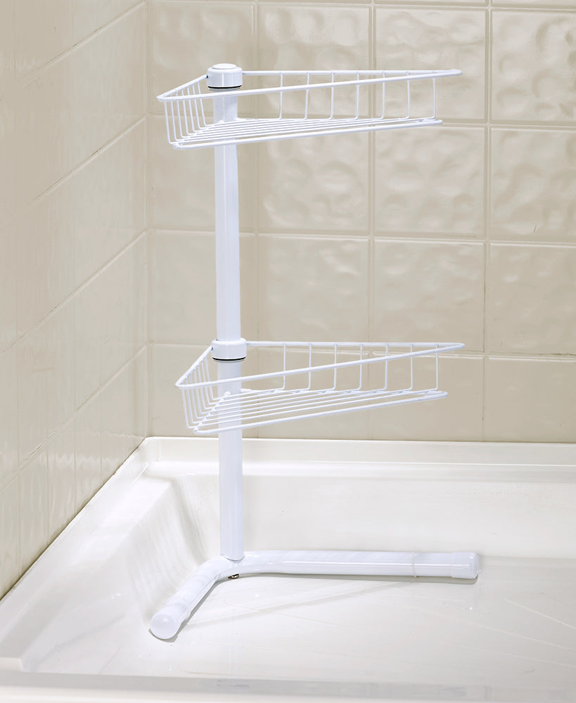 2-Tier Corner Bathroom Storage Shelves
