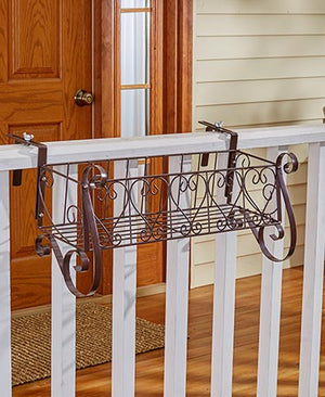 Decorative Rail or Fence Planters Heart Scrollwork and Coco Planter Liners