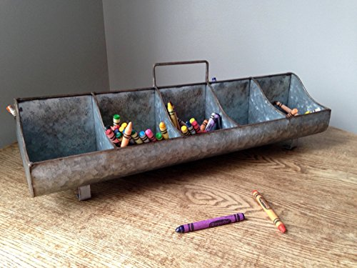 Galvanized Steel Metal Country Garden Planter Feed Trough Caddy with Handle 10 Compartments