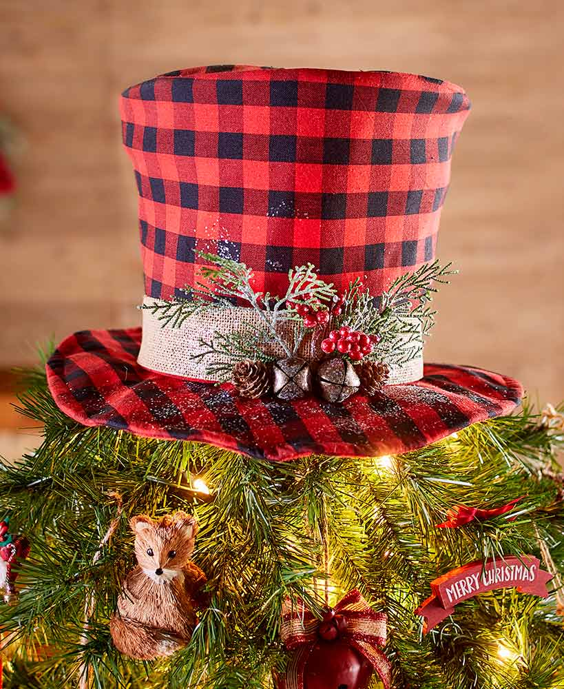 Plaid Top Hat Tree Topper