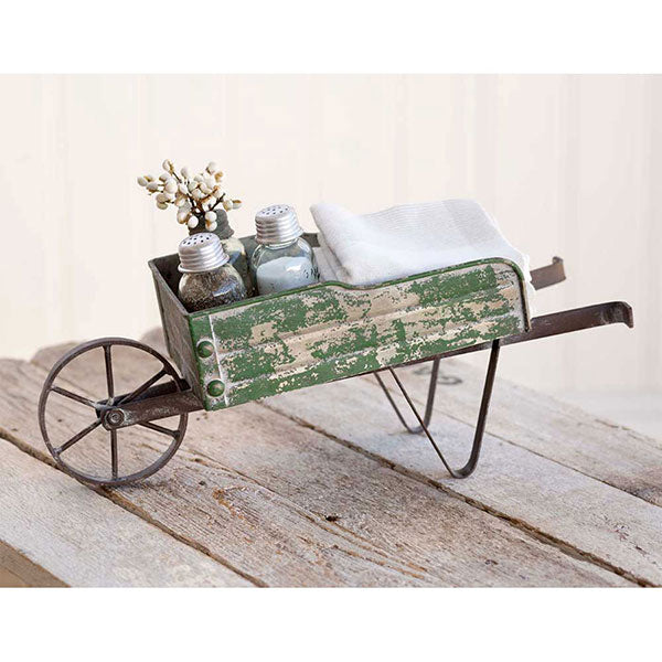 Tabletop Wheelbarrow Kitchen Caddy 16''W x 5½''D x 7''H with antique look and colors