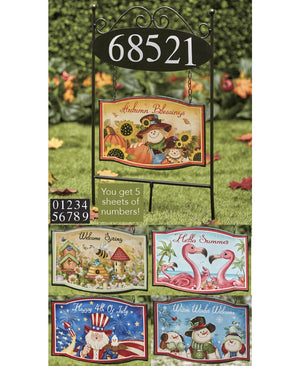 Seasonal Address Stake Set with Seasonal Interchangeable Magnets