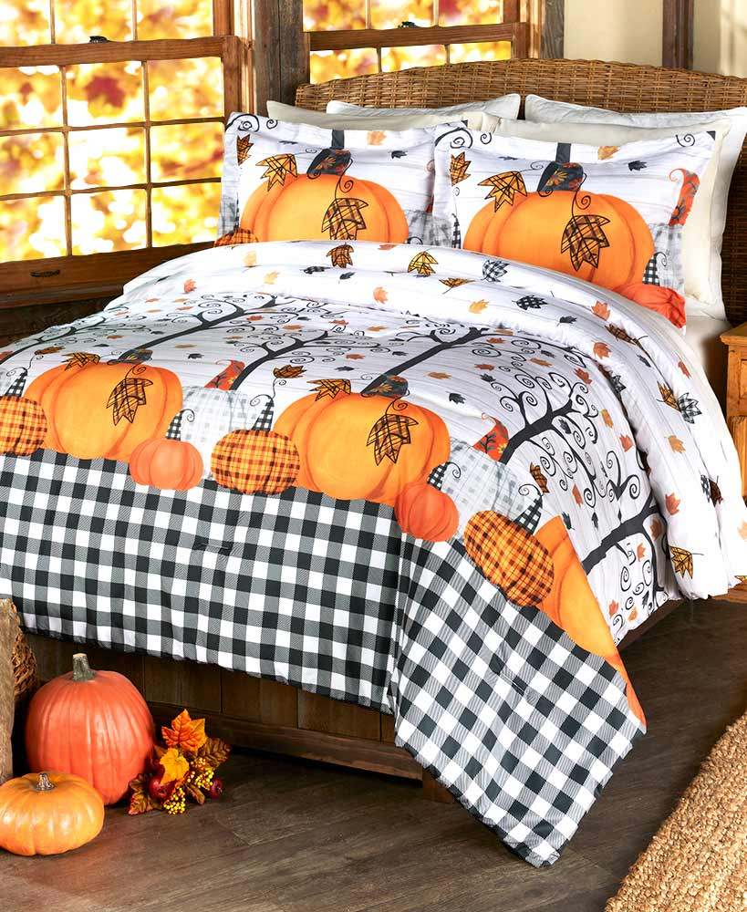 Plaid Pumpkin Comforter or Sham