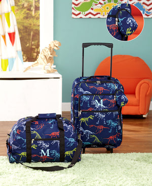 Boys Monogram Luggage Sets Polyester 3 PC Clutch, Rolling Duffel Bag Detachable