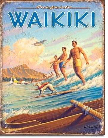 Hawaii - Surfside Tin Sign 13 x 16in